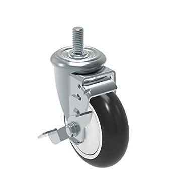 """4/"""" Casters w// 1//2/"""" x 1-1//2/"""" Stem /& Polypropylene Wheel"""