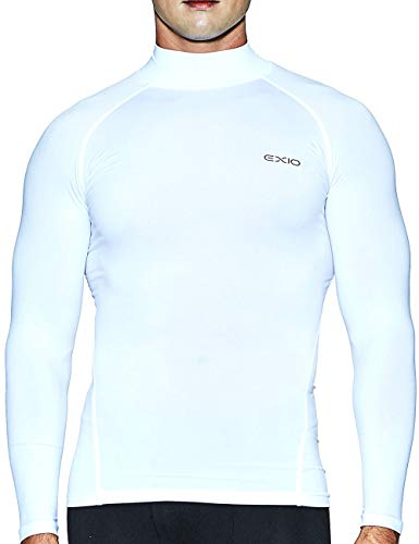 EXIO Japan Men's Mock Turtleneck Compression Shirt Cool&Dry Baselayer Top EX-T02 (X-Large, EXT02-WH) - Youth White Mock Turtleneck