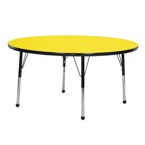 "UPC 663789228647, Creative Colors Y48RNNV-TN Activity Table, Self-Leveling Glides, Toddler Height, 48"" Round, Yellow Top, Navy Edge"
