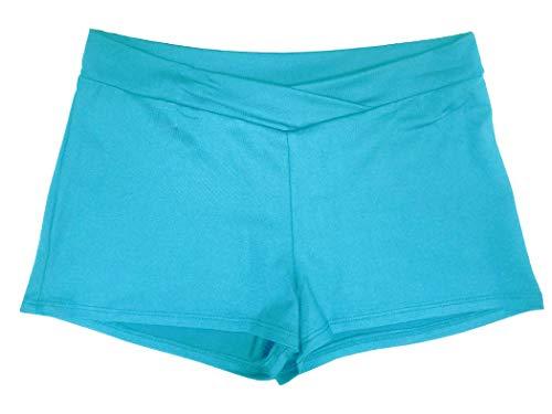 - Women's V-Waist Nylon Dance Shorts (Small, Turquoise)