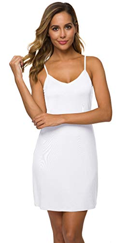 (AUHEGN Women's Sexy Spaghetti Strap Tank Dress V-Neck Bodycon Club Party Mini Dress(White, Small))