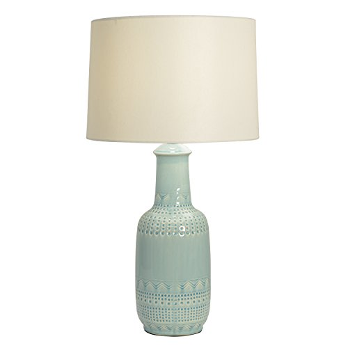 Décor Therapy TL14117 Patterned Ceramic Table Lamp, Soft Green Glaze