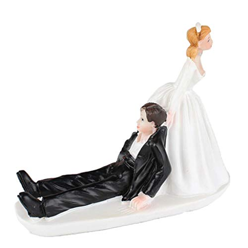 (BROSCO Funny Wedding Reluctant Groom Resin Figurine Cake Stand Topper Accessories)