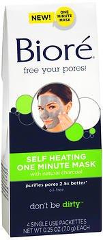 Biore Self Heating One Minute Mask, 0.25 oz, 4 ea (Pack of 4)