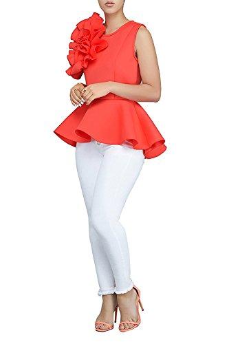 PrettySoul Women's Elegant Round Neck Sleeveless Flounce Ruffle Hem Flower Peplum Blouse Shirt Tops Clubwear Red, XX-Large ()