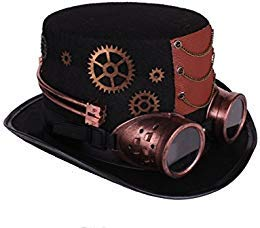Arsimus Large Steampunk Hat with Goggles & Gears Burning Man Victorian Top Hat ()