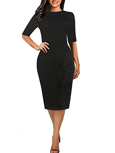 oxiuly Women's Casual Simple Soild Half Sleeve Round Neck Work Business Pencil Sheath Fall Plus Stretchy Dress OX055 (XXL, Soild Black) Simple Half Sleeve
