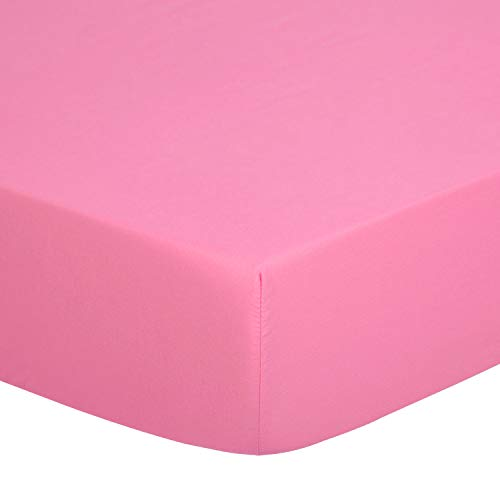 TILLYOU Silky Soft Microfiber Crib Sheet, Breathable Cozy Toddler Sheets for Girls, 28 x 52in Fits Standard Crib & Toddler Mattress, Deep Pink (Crib Sets Bedding Silky)