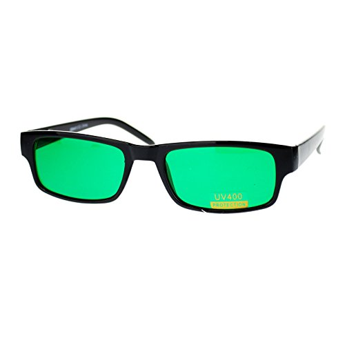Black Rectangle Frame Green Lens Sunglasses Spring Hinge (Rectangle For Sunglasses Women)