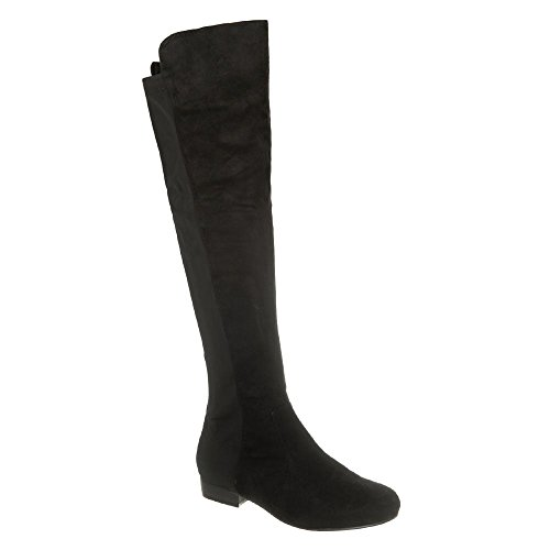 Flat Block Heel On the Knee Almond Toe Pull On Boot With Elastic back Panel BLACK SUEDETTE avVlqR