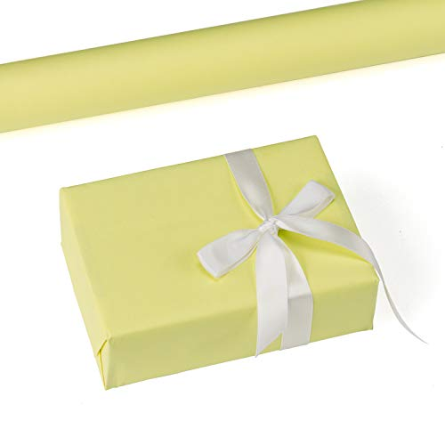 RUSPEPA Yellow Kraft Wrapping Paper - 47.8 Sq Ft Heavyweight Paper for Wedding,Birthday, Shower, Congrats, and Holiday Gifts - 17.5Inch X 32.8Feet Per Roll ()