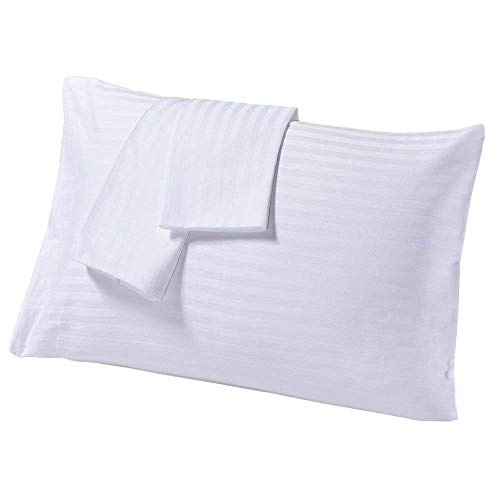 SC-Collection Set of 2 Travel Pillow Cases 14X20 White Striped with 100% Egyptian Cotton-450 Thread Count Quality Envelope Style ()