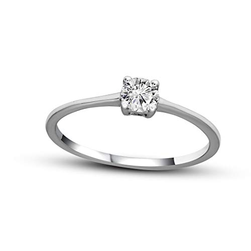 100% Real Diamond Ring Luxury 1/4 ct Lab Grown Designer Diamond Solitaire Ring SI-GH Quality 14K Real White Gold Diamond Ring for Women (Jewelry Gifts For Women)