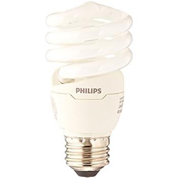 Philips 433557 23W 100-watt T2 Twister 6500K CFL Light Bulb, 4 ...:Philips 823031 CFL Light Bulb 13W T2 Twister Daylight 6500K, 60 Watt  Equivalent; 4-Pack,Lighting