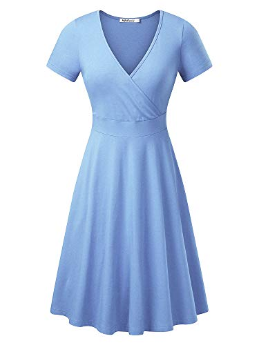 (MSBASIC Wrap Dress Petite Length Dress for Women Elegant Midi SkyBlue)