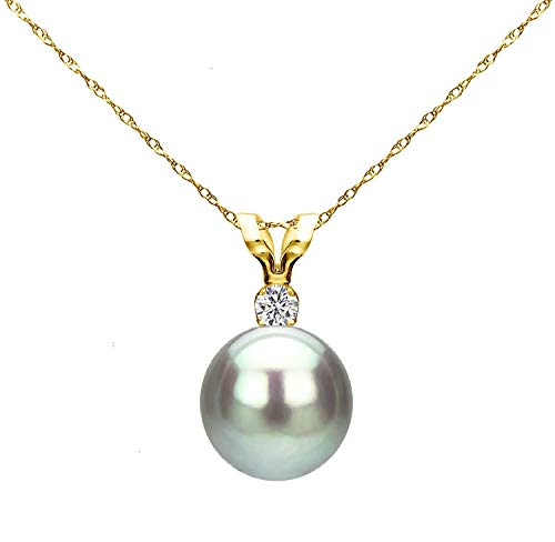 14k Yellow Gold 7-7.5mm Dyed-grey Round Freshwater Cultured Pearl Bunny Pendant 1/100cttw Diamond, ()