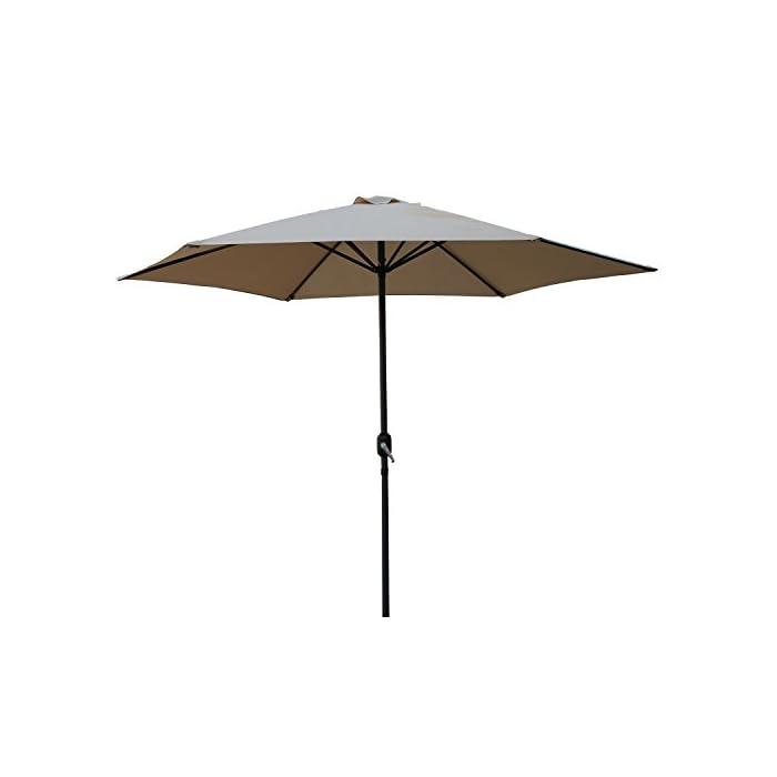 Material: aluminio, acero y poliéster Peso: 4,5 kg . El diámetro del parasol es de 2,7 metros y la altura de 2,4 metros Fácil Inclinación funcionamiento, hand-crank ascensor (no incluye la base de sombrilla.) Protección UV y repelente de agua.(no impermeable) Estructura de aluminio con tubo central de 38 mm de diámetro Este parasol puede abrirse y cerrarse fácilmente con la manivela de marcha.Fácil de operar sistema de levantamiento de manivela y una opción de inclinación que también proporciona protección con un pie bajo sol.
