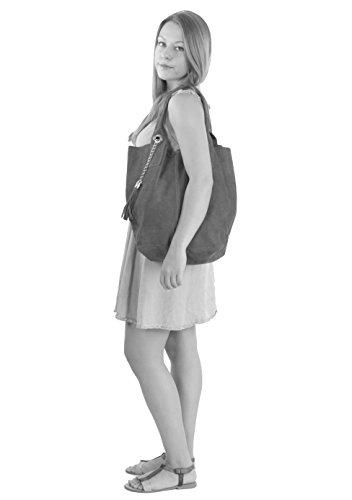 histoireDaccessoires - Bolso de Cuero de Mujer para Llevar al Hombro - SA136623GV-Miss Topo plateado