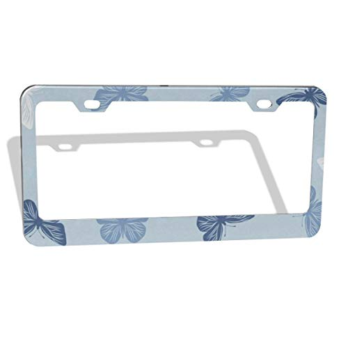 Blue Butterfly Light Blue License Plate Frame Cover 2-Pack Premium Quality Novelty Metal Aluminum Custom License Plate 2 Holes for Cars Womens 12