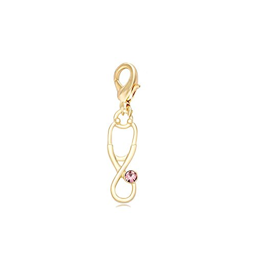 MANZHEN Medicine Stethoscope Charms for Bracelet,Necklace,Keychain Doctor Nurse Students Gift (gold)