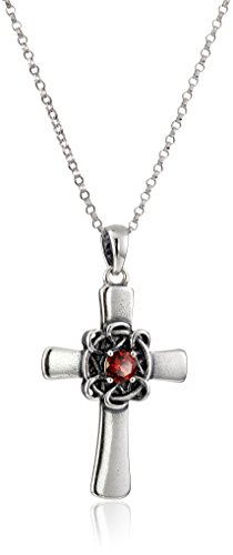 Sterling Silver Oxidized Genuine Garnet Celtic Cross Pendant Necklace, 18