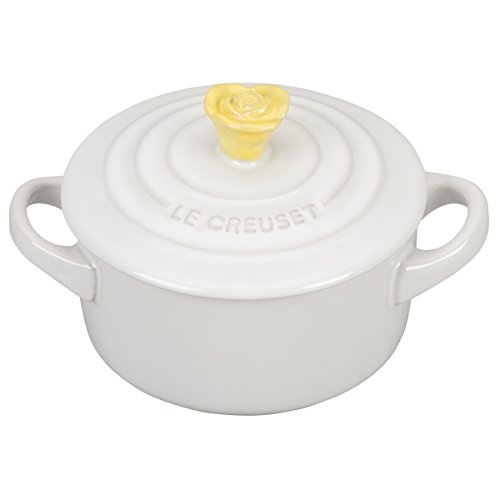 - Le Creuset White Stoneware 8 Ounce Mini Round Cocotte with Soleil Flower Knob