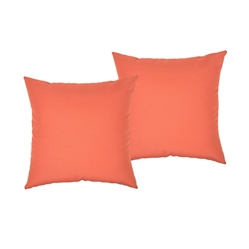 k Fiber Waterproof Throw Pillow Case Cushion Cover For Travel, Indoor, Outdoor, Rattan Sofa, Bed 18 x 18 inches (2 Pack, Orange) (Rattan Pillow)
