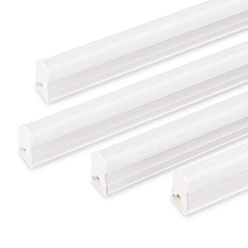 36' Strip Fixture - 4FT Led T5 Integrated Single Fixture,Utility LED Tube Light, 180 Degrees Beam Angle, Basement Ceiling and Under Cabinet Light Daylight 6500K, 4-Pack