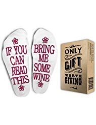 Comfort Cotton Socks Gift BoxIf you can read this bring me a glass of wine Perfect Unisex Gift for Wine Lovers,Birthdays,White Elephant,Mother/Ís Day,Father/Ís Day,husband or Best Friend Wine Socks