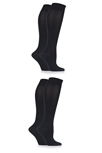 Bamboo Knee High Socks (Ladies' 4 Pair Sockshop Plain Bamboo Knee High Socks - Black 6-10)