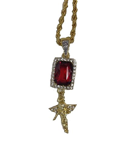 Buyless Fashion Men's Gold Plated Hip Hop Necklace With Pendant And Chain- Ruby And Cross (Chain Ruby Cross)