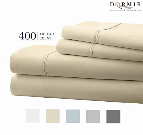 (Dormir 400 Thread Count 100% Cotton Sheet Ivory Full Sheets Set, 4-Piece Long-Staple Combed Cotton Best Sheets for Bed, Breathable, Soft & Silky Sateen Weave Fits Mattress Upto 18'' Deep Pocket)