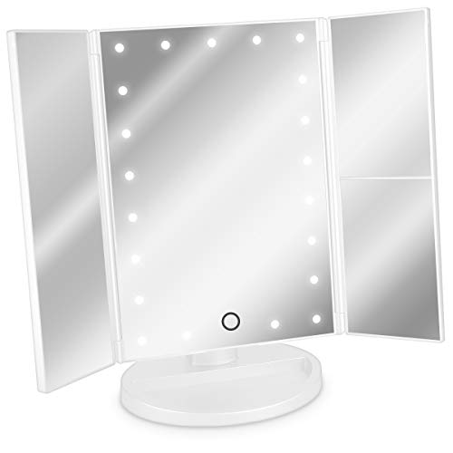 Navaris Espejo cosmetico LED Plegable - Espejo triptico de Maquillaje con iluminacion - Espejo con Pliegues de aumentos 2X y 3X - En Blanco Mate