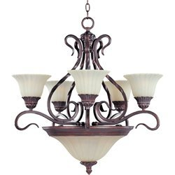maxim-lighting-2776svgb-greek-bronze-finished-chandelier-with-soft-vanilla-glass-shades