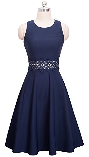 HOMEYEE Women's Sleeveless Cocktail A-Line Embroidery Party Summer Dress A079 (8, Dark Blue) by HOMEYEE (Image #1)