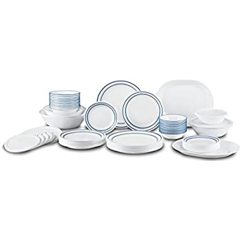 Corelle Livingware 74 Piece Classic Cafe Blue Dinnerware Set with Storage Lids White  sc 1 st  Amazon.com & Amazon.com: Corelle Livingware 74 Piece Classic Cafe Blue Dinnerware ...