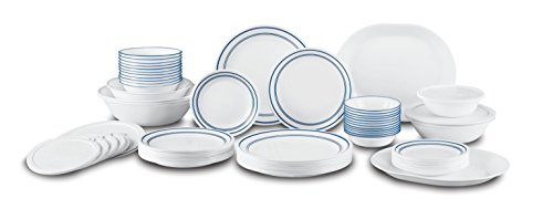Corelle Livingware 74 Piece Classic Cafe Blue Dinnerware Set with Storage Lids, White