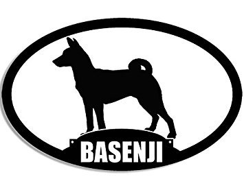 MAGNET Oval BASENJI Silhouette Magnet(dog breed) Size: 3 x 5 inch ()