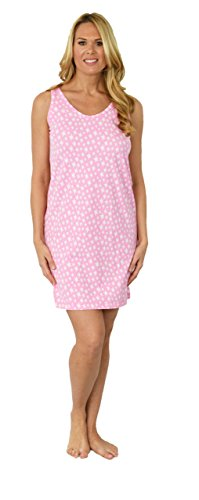 Shadowline Sleep Shirt Dress for Women, Sleeveless Cotton Tank Dress, Misses and Plus Size, (Pink Star)