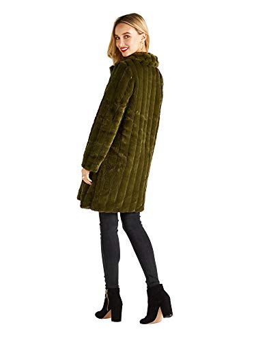 Stripe Coat Pockets Fur Patch Green With Yumi Faux vqxHSwggA