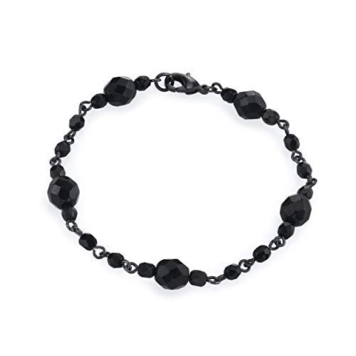 1928 Jewelry Jet Black Beaded Clasp Bracelet -
