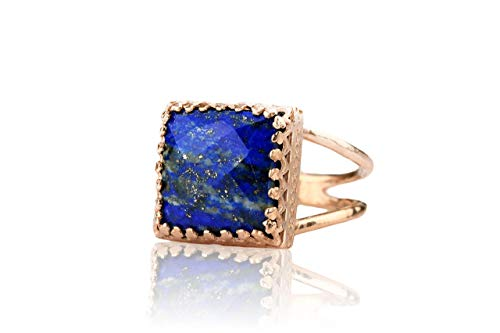 Anemone Jewelry 14K Rose Gold Lapis Lazuli Ring - Rose Gold Ring for Weddings, Birthdays, Cocktails, and Other Special Occasions - 12 Millimeter Lapis Ring - Handmade