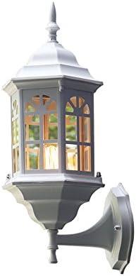 Gvqng 壁ライト 現代の屋外防水アルミガラスの壁取り付け用燭台壁ランプヴィラ回廊ストアウォールライトフィクスチャE27(黒/白) (Color : White)