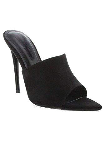 Stiletto Mule - Michelle Parker Cape Robbin CECE Black Vegan Suede Slip-On Mules Pointed Open Toe Stiletto Heels (9)