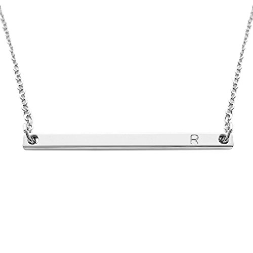 18K Silver Plated Initial Bar Necklace Personalized Mom Mother's Day Gift Sorority Sister Gift (R)