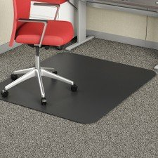 Deflecto EconoMat Black Chair Mat, Low Pile Carpet Use, Rectangle, Straight Edge, 45 x 53 Inches (CM1124BLK) ()
