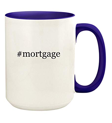 #mortgage - 15oz Hashtag Ceramic Colored Handle and Inside Coffee Mug Cup, Deep Purple
