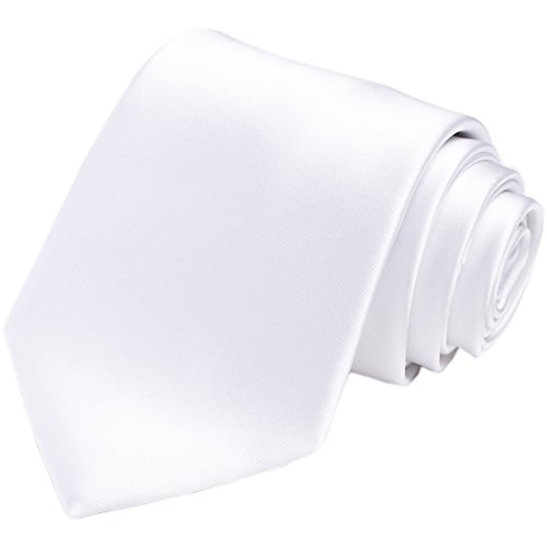 KissTies White Tie Mens Necktie Satin Wedding Ties + Gift Box -