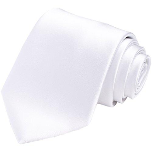 KissTies White Tie Mens Necktie Satin Wedding Ties + Gift -