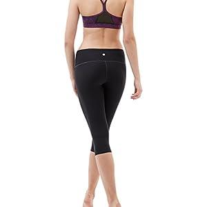 """TM-FYP21-BLK_Medium Tesla Yoga 17""""Capri Mid-Waist Pants w Hidden Pocket FYP21"""